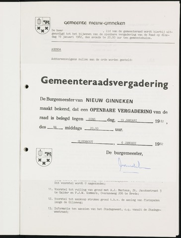 Nieuw-Ginneken - Notulen en bijlagen van de gemeenteraad 1982