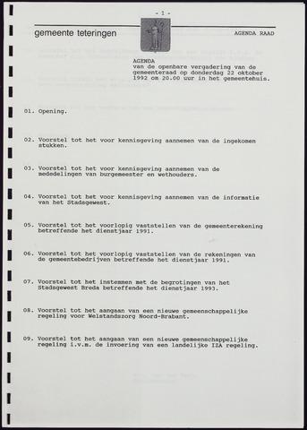 Teteringen - Notulen en bijlagen van de gemeenteraad 1992-10-22
