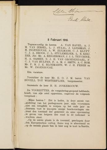 Breda - Notulen van de gemeenteraad 1916-01-01