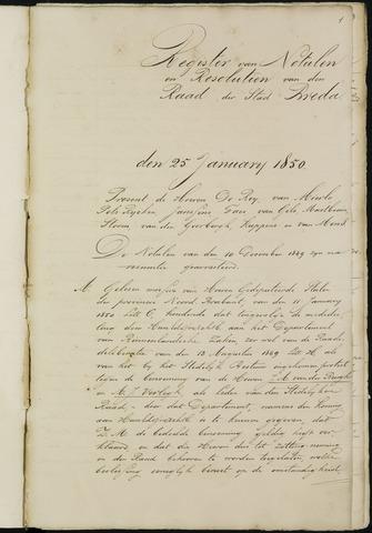 Breda - Notulen van de gemeenteraad 1850-01-01