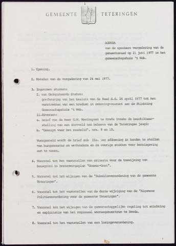 Teteringen - Notulen en bijlagen van de gemeenteraad 1977-06-21