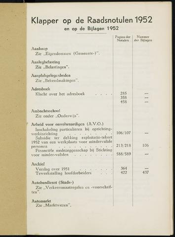 Breda - Indexen op de notulen van de gemeenteraad 1952-01-01