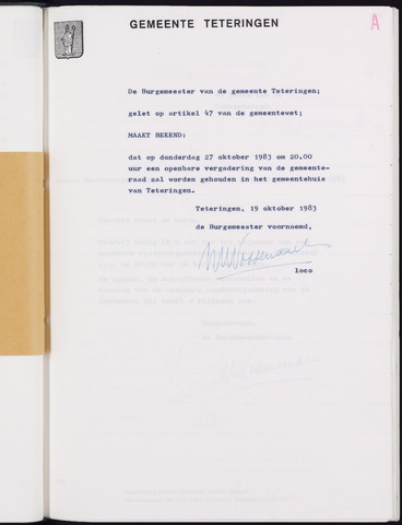 Teteringen - Notulen en bijlagen van de gemeenteraad 1983-10-27