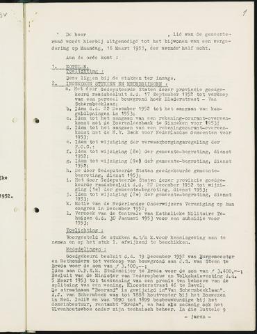 Nieuw-Ginneken - Notulen en bijlagen van de gemeenteraad 1953