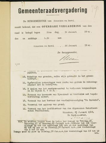 Ginneken en Bavel - Bijlagen bij de notulen van de gemeenteraad 1940-01-01