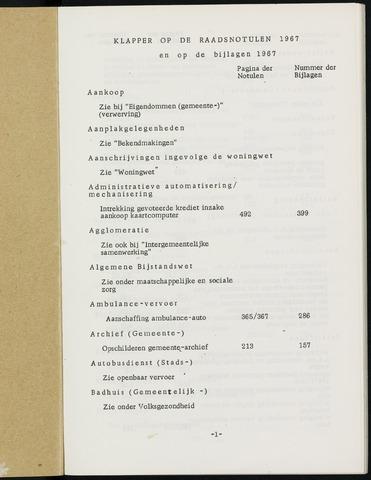 Breda - Indexen op de notulen van de gemeenteraad 1967-01-01