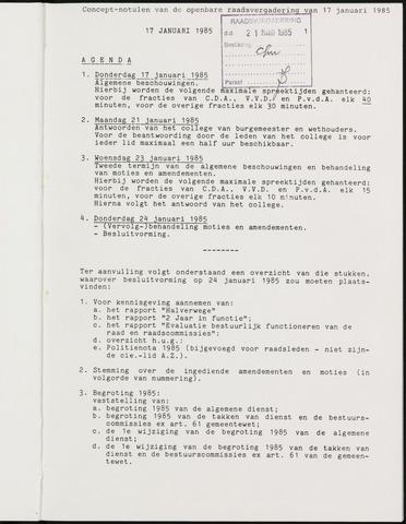 Breda - Notulen van de gemeenteraad 1985-01-01