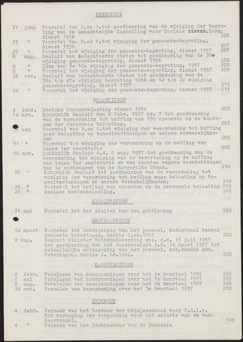 Teteringen - Indexen op de notulen van de gemeenteraad 1957-01-01