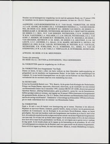 Breda - Notulen van de gemeenteraad 1996-01-01
