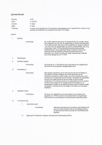 Breda - Bijlagen bij de notulen van de gemeenteraad 2016-03-31