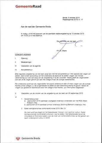 Breda - Bijlagen bij de notulen van de gemeenteraad 2015-10-15