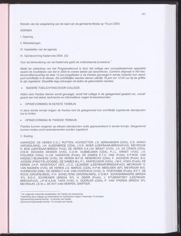 Breda - Notulen van de gemeenteraad 2003-06-19