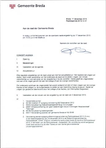 Breda - Bijlagen bij de notulen van de gemeenteraad 2015-12-17