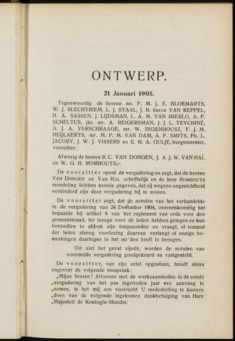 Breda - Notulen van de gemeenteraad 1905-01-01