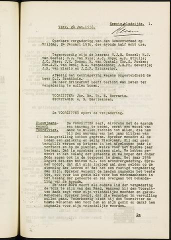 Ginneken en Bavel - Notulen van de gemeenteraad 1936-01-01