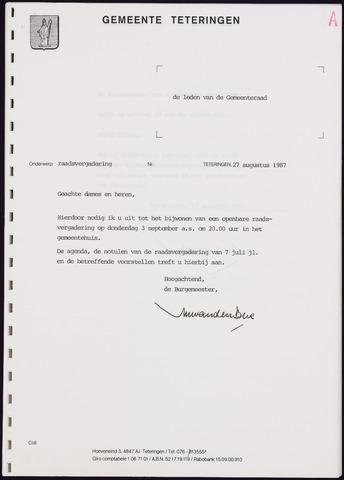 Teteringen - Notulen en bijlagen van de gemeenteraad 1987-09-03