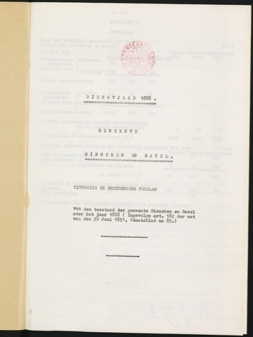 Ginneken en Bavel - Verslagen van de toestand van de gemeente 1888