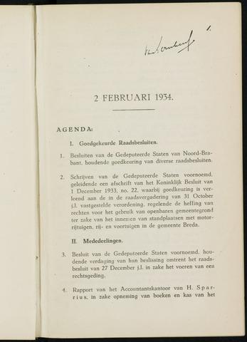 Breda - Notulen van de gemeenteraad 1934