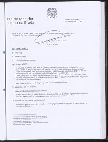 Breda - Bijlagen bij de notulen van de gemeenteraad 2003-10-30