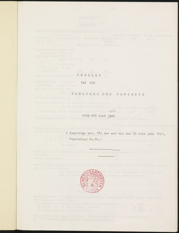 Ginneken en Bavel - Verslagen van de toestand van de gemeente 1906