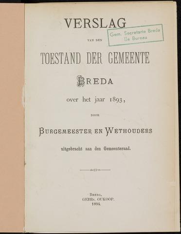Breda - Verslagen van de toestand van de gemeente 1893