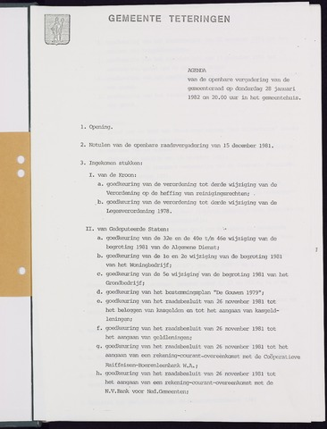 Teteringen - Notulen en bijlagen van de gemeenteraad 1982