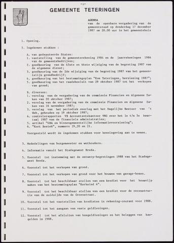 Teteringen - Notulen en bijlagen van de gemeenteraad 1987-12-17