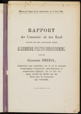 Breda - Bijlagen bij de notulen van de gemeenteraad 1894