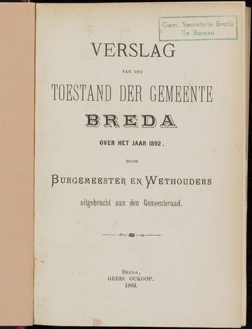 Breda - Verslagen van de toestand van de gemeente 1892-01-01