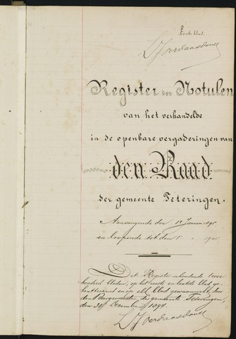 Teteringen - Notulen en bijlagen van de gemeenteraad 1895
