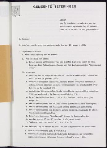 Teteringen - Notulen en bijlagen van de gemeenteraad 1982-02-25