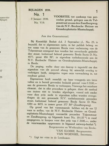 Breda - Bijlagen bij de notulen van de gemeenteraad 1939