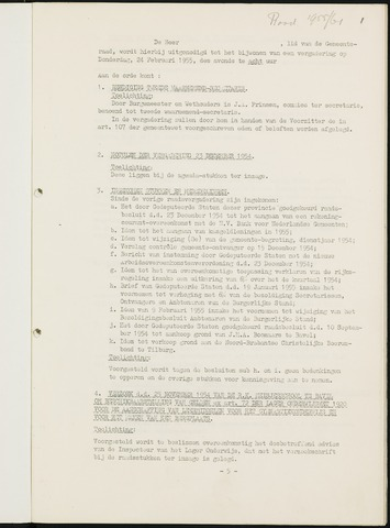 Nieuw-Ginneken - Notulen en bijlagen van de gemeenteraad 1955