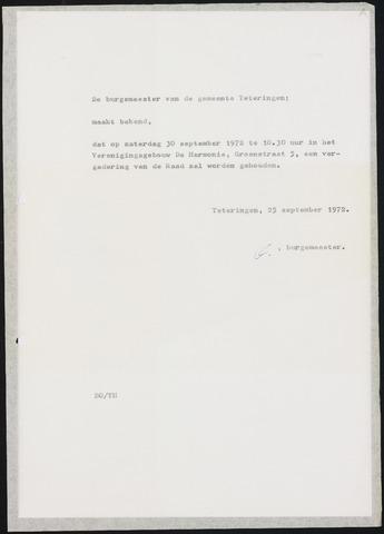 Teteringen - Notulen en bijlagen van de gemeenteraad 1972-09-30