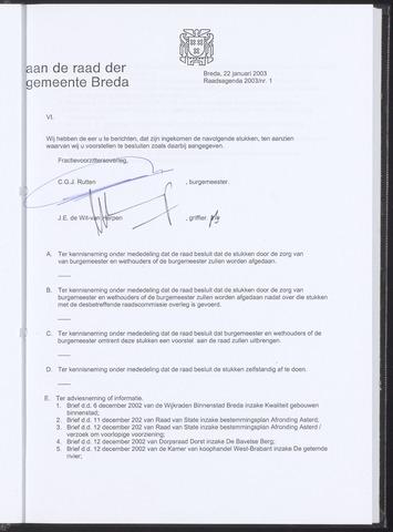 Breda - Bijlagen bij de notulen van de gemeenteraad 2003-01-22