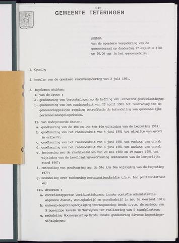Teteringen - Notulen en bijlagen van de gemeenteraad 1981-08-27