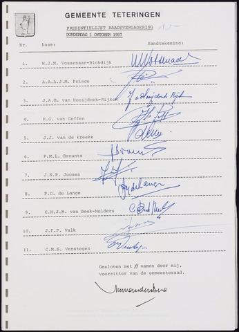 Teteringen - Notulen en bijlagen van de gemeenteraad 1987-10-01