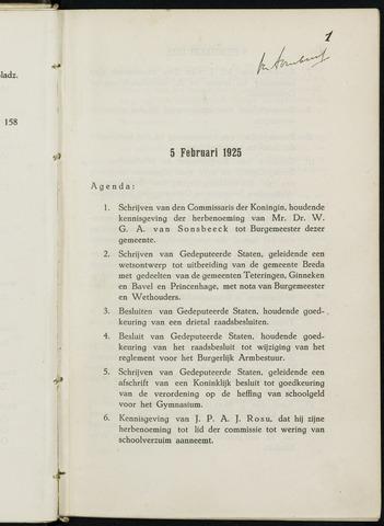 Breda - Notulen van de gemeenteraad 1925-01-01