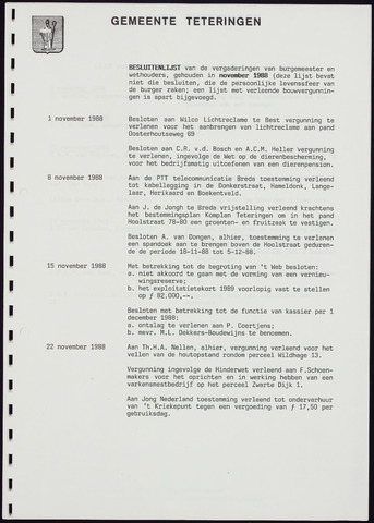 Teteringen - Notulen en bijlagen van de gemeenteraad 1988-12-22