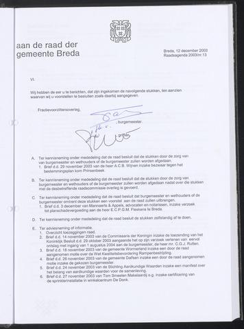 Breda - Bijlagen bij de notulen van de gemeenteraad 2003-12-12