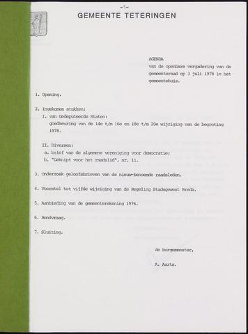 Teteringen - Notulen en bijlagen van de gemeenteraad 1978-07-03
