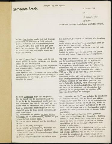 Breda - Bijlagen bij de notulen van de gemeenteraad 1962
