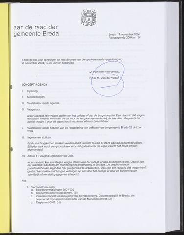 Breda - Bijlagen bij de notulen van de gemeenteraad 2004-11-17