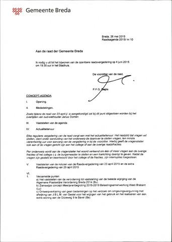 Breda - Bijlagen bij de notulen van de gemeenteraad 2015-06-04