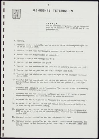 Teteringen - Notulen en bijlagen van de gemeenteraad 1989-12-21