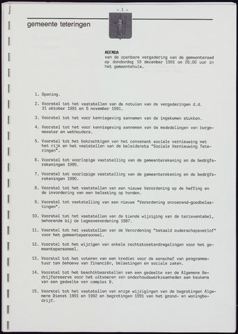 Teteringen - Notulen en bijlagen van de gemeenteraad 1991-12-19