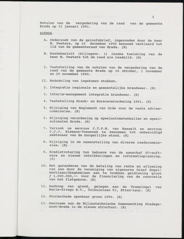Breda - Notulen van de gemeenteraad 1991