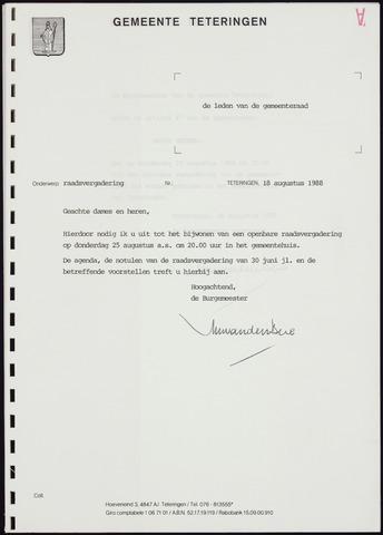 Teteringen - Notulen en bijlagen van de gemeenteraad 1988-08-25