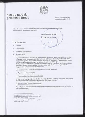 Breda - Bijlagen bij de notulen van de gemeenteraad 2004-11-02