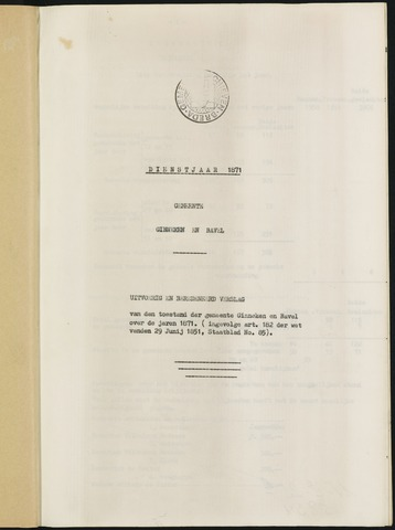 Ginneken en Bavel - Verslagen van de toestand van de gemeente 1871-01-01